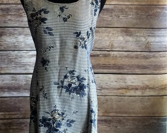Natural Country Gingham and Floral Print 90's Dress