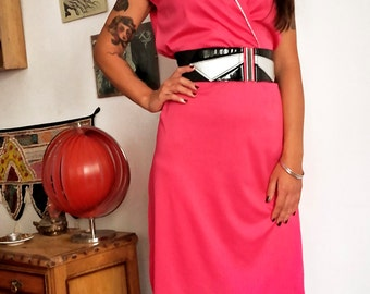 ON SALE-- Bright Pink Vintage Disco Dress 70s