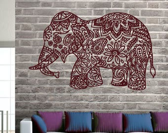Elephant Wall Decal Stickers Elephant Yoga Wall Decals Indie Wall Art Bedroom Dorm Nursery Boho Bohemian Bedding Decor Interior Design ET051