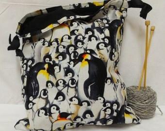 Penguin Knitting Bag, Crochet Bag, Yarn Bag, Project Bag, Tote bag, Drawstring bag, Knitting Tote, Sock knitting bag