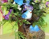 Spring bird floral arrangement, spring centerpiece, boot floral decor, blue bird floral arrangement, blue hydrangeas, table decor
