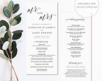Mr and Mrs Wedding Program. Wedding Program Template. Wedding Programs Instant Download. Wedding Programs. Rustic Programs. DIY Program.(SH)