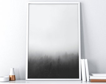 Forest Printable Art | Foggy Mountain Printable Art | Nordic Wall Print | Black and White Minimalist Poster | Tumblr Room Decor | Wall Art