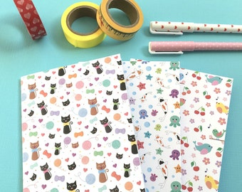 Cute Patterned A6 Notebooks - set of three notebooks - Cat notebooks - Kawaii stationery