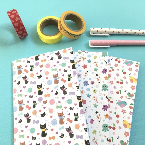 Cute Patterned A6 Notebooks - set of three notebooks