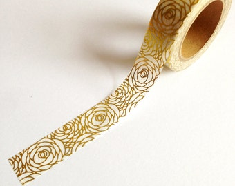 Rose Gold Foil Washi Tape 10m, planner supplies, floral washi tape, scrabooking deco tape, journal planner accessories, gold foil stationery
