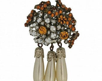 Miriam Haskell 1950s Silver and Amber Rhinestone and Faux Pearl Vintage Drop Brooch