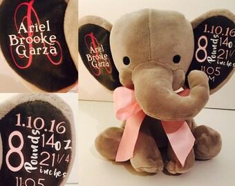 Birth Announcement Stuffed Animal, Personalized Elephant boy or girl