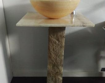 new honey onyx stone vessel sink with honey onyx countertop and stone base bathroom vanity pedestal - Stone Vessel Sinks