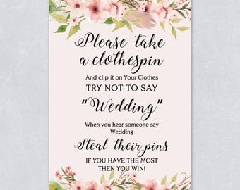 Please take a clothes pin, don't say wedding, Floral bridal shower game, bohemian watercolor, pastel cream color, INSTANT DOWNLOAD