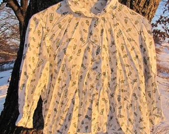 Vintage amphora patterned white shirt