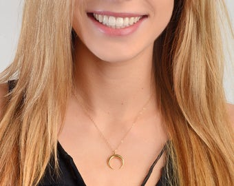 Moon Necklace, Crescent Moon Necklace, Half Moon Necklace, Minimal Simple Necklace, Layering Necklace, Gold fill, Silver, Rose Gold Fill