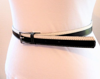 Black and White Belt with Thin Silver Buckle 38 inches 1980s