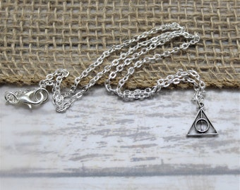 Deathly Hollows Necklace - Harry Potter Jewelry - Silver - Dainty