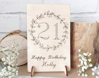 21st Birthday Card - 21st Birthday Gift - 21st Keepsake - 21 Birthday - Wooden Card - Laser Cut Card - Wooden Postcard - Personalised