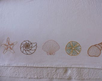 Seashell Border Pattern, Seashell Hand Embroidery Pattern, Five Sea Shells Embroidery Pattern, Five Sea Shells Hand Embroidery Pattern