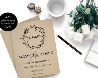Printable Rustic Kraft Save the Date Card - Rustic Save The Date - Wedding Printable -  Fall Wedding - Downloadable wedding #WDH0107