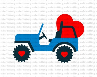 Valentine's day svg, Valentines day svg, Valentine svg, truck svg, jeep svg, heart svg dxf jpeg cutting files for Silhouette Cameo, Cricut