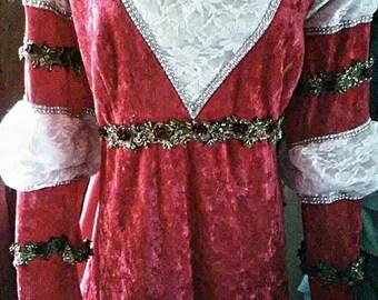 Plus Size Red Velvet Renaissance Christmas  Gown