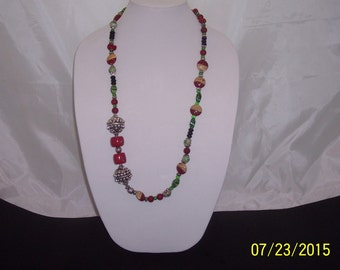 Necklace Beaded with Natural Coral