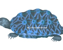 Blue Turtle Illustration – Printable Download - Turtle Clip Art – Stock Images – Tortoise - Nautical Theme - Commercial Use – 300dpi - PNG