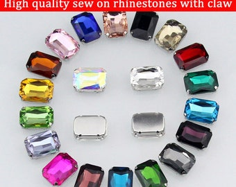 18X25MM 20pcs/pack rectangle shape crystal glass sew on rhinestone,Flatback Claw Rhinestones For DIY Garment