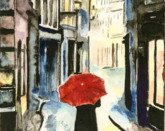 Rainy City watercolor print:  City, rain, European, Europe, Germany, Fance, red umbrella, watercolor
