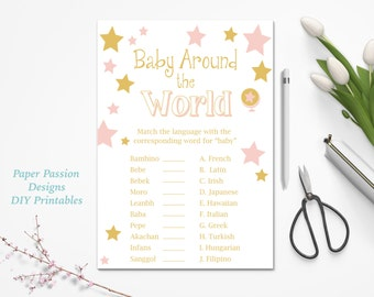 Baby Around the World Game ~ Pink and Gold Baby Shower Game ~ Baby Girl Stars ~ Printable Game 0022PG
