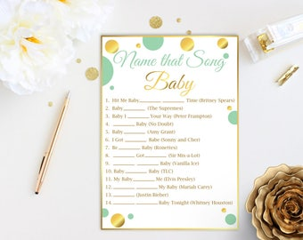 Name that Song Baby ~ Mint Green and Gold Baby Shower Game ~ Gender Neutral Polka Dot ~ Printable Game MintGld20