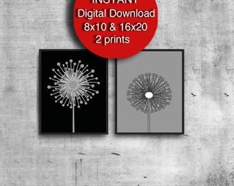 Scandinavian Print Set of 2 Prints, Gray, Black, Digital Downwload, Dandelion Art, Retro Modern
