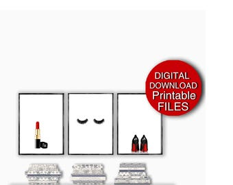 Fashion Wall Art, Set of 3 Prints, Digital Download, Makeup Wall Decor Powder Room Art for Girls