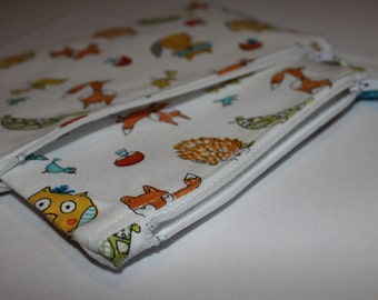 Woodland Creatures Zipped Pouch Set