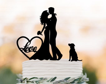 Funny Wedding Cake topper with heart, Cake Toppers with dog, couple silhouette, cake toppers bride and groom with love in heart