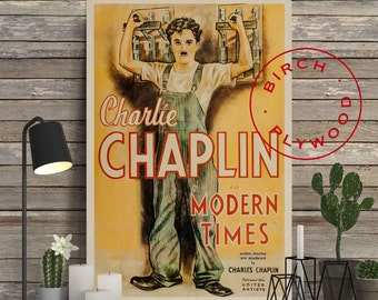 MODERN TIMES - Poster on Wood, Charles Chaplin, Paulette Goddard, Print on Wood, Gift for Her, Movie Poster, Minimalist Poster, Wall Decor