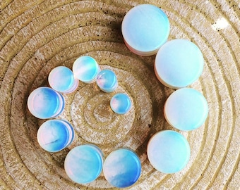 Opalite Plugs // Double Flare Gauges // 2g - 5/8""