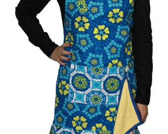 Apron blue flower