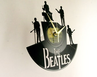 The Beatles vinyl record wall clock, ideal for home decor, unique gift present and hand made art, interior design for music fan, 007