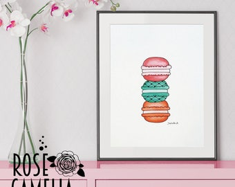 Macaroons, cookie illustration, Poster