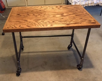 Oak and Iron Pipe Desk/Table