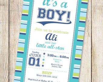 Boy Baby Shower Invitation, Printable baby shower invitation, Sports Baby Shower, Sports Baby Shower Invitation