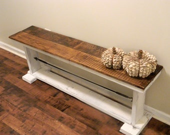 Rustic Reclaimed Wood Bench with Industrial Turnbuckle