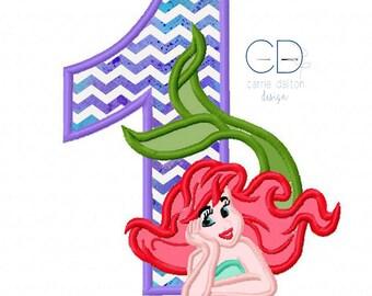 Mermaid Embroidery Design, Mermaid Applique Design, Litte Mermaid Embroidery Design, 1st Birthday Embroidery Design, First Birthday Mermaid