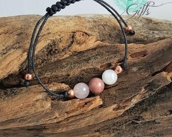 Handmade Gemstone Fertility Bracelet with Moonstone Rose Quartz and Rhodonite, Anxiety, Emotional - TTC IVF Gift