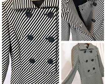 Vintage Dress Graphic op art mod black and white cadet military wool double breasted 60's 70's