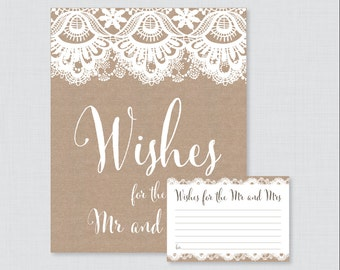 Printable Wedding Wishes Cards - Rustic Wishes for the Mr and Mrs Cards and Sign - Burlap and Lace Wedding Reception Game/Activity 0002