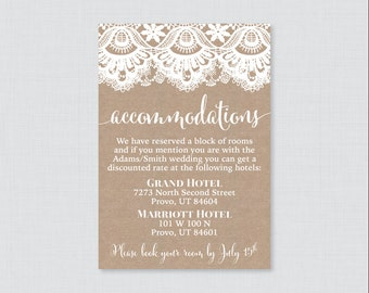 Printable OR Printed Wedding Accommodation Cards - Burlap and Lace Accommodation Inserts - Rustic Wedding Details Invitation Insert 0002