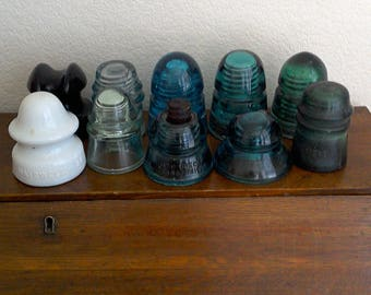 Available items are 3, 4, 9, & 10-- 20% off Vintage Collectible Collectable Glass Insulators
