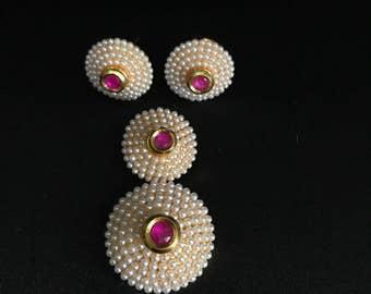 Indian Pendant Set - Pendant Set - Moti Pearl Jewelry - South Indian Jewelry - Hot Pink and Pearl Pendant Set - Kundan Jewelry - Bridal -