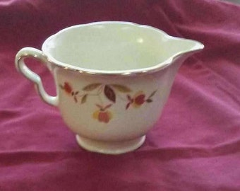 Vintage 1940s Hall's Superior Dinnerware Jewel Tea Autumn Leaf Collection Ruffled D Creamer Cup. Mary Dunbar Tested and Approved