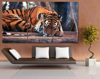 Large Tiger Canvas Print, Animal Wall Art Set, Safari Nursery Art, Safari Nurseri Decor, Sleeping Tiger Home Decor, Kids room Wall Art LC045